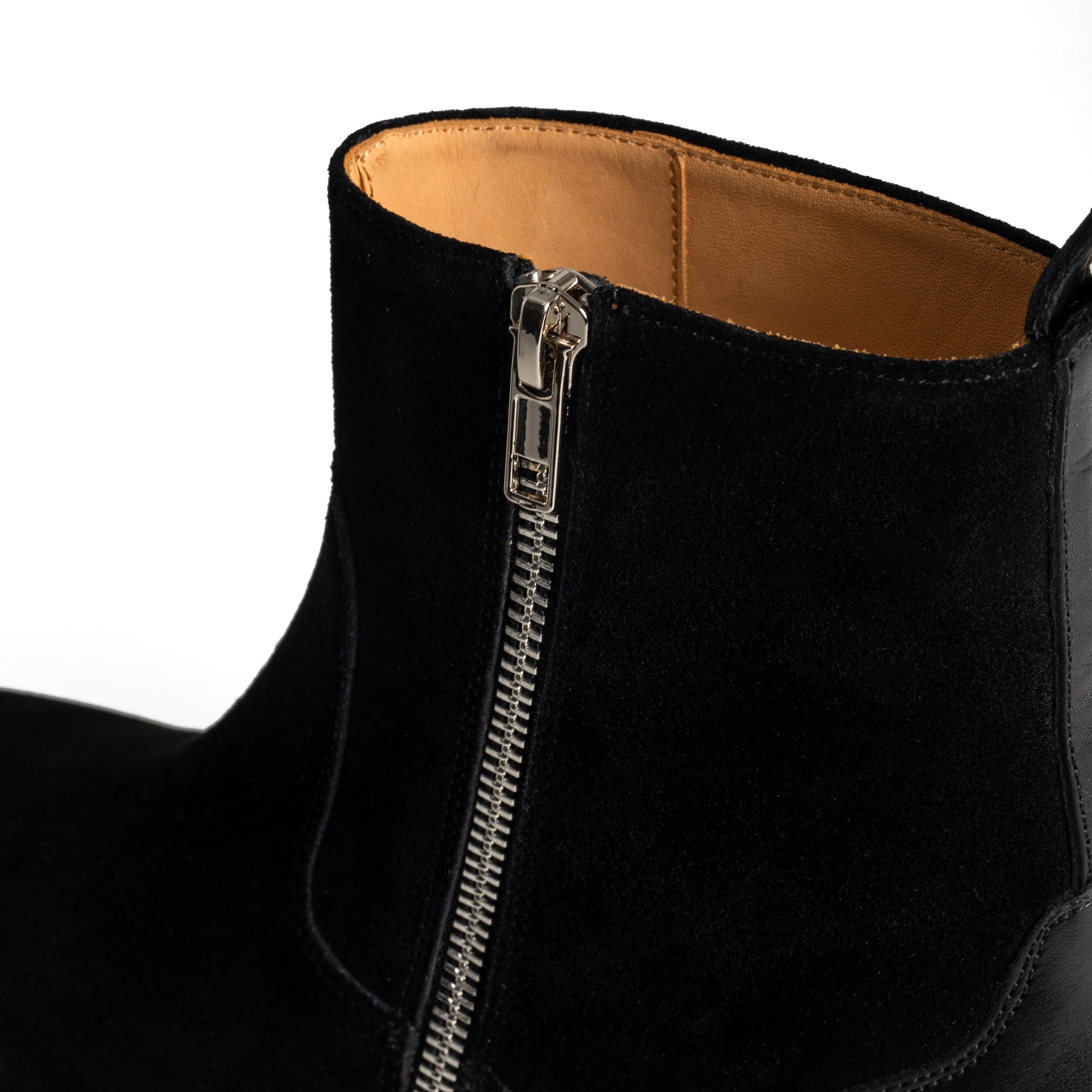 Zipped Leather Heel Chelsea Boots
