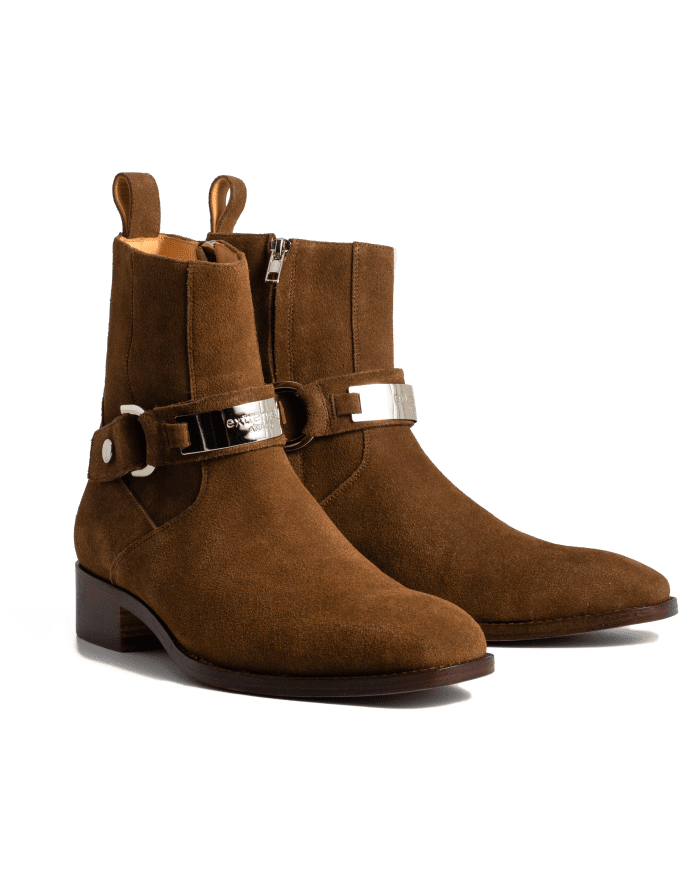 Strap Suede Chelsea Boots
