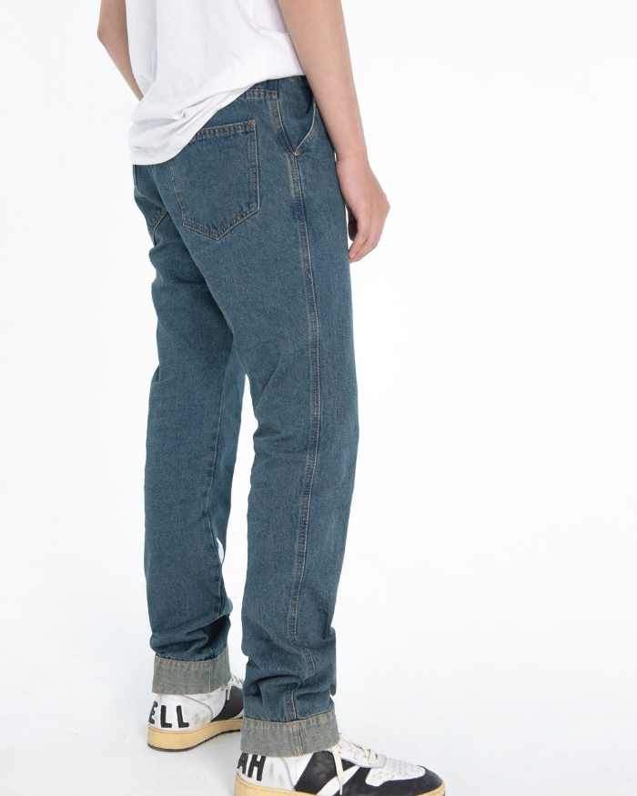 Vertical Text Printed Jeans