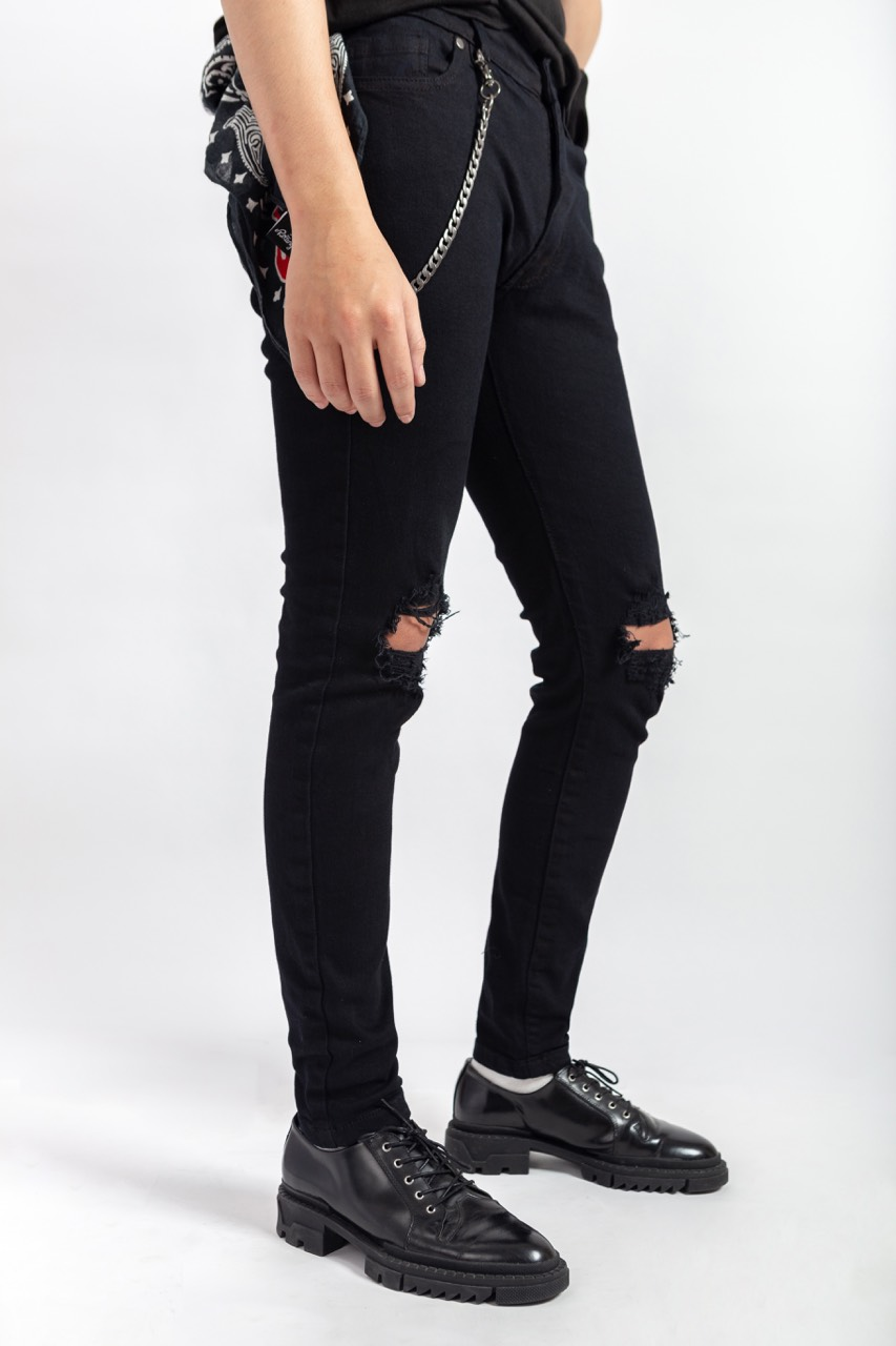 Black Double Blow-out Skinny Jeans