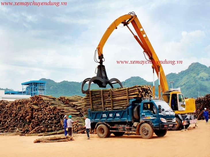 Cẩu gắp gỗ bánh lốp Trung Quốc, chiều cao xả tải lớn.