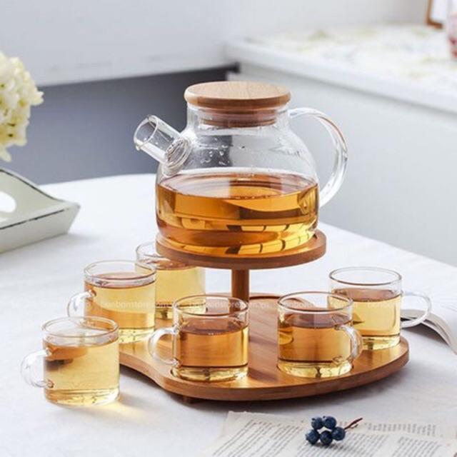 Bộ bình trà nắp gỗ kèm cốc thủy tinh