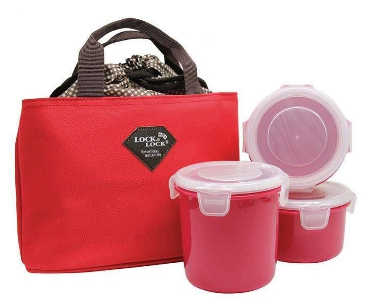 Bộ 3 hộp cơm kèm túi giữ nhiệt Lock&Lock