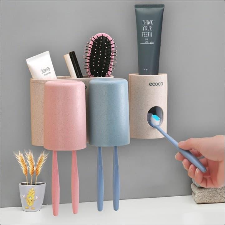 Giá để bàn chải, kem đánh răng kèm 2 cốc Ecoco