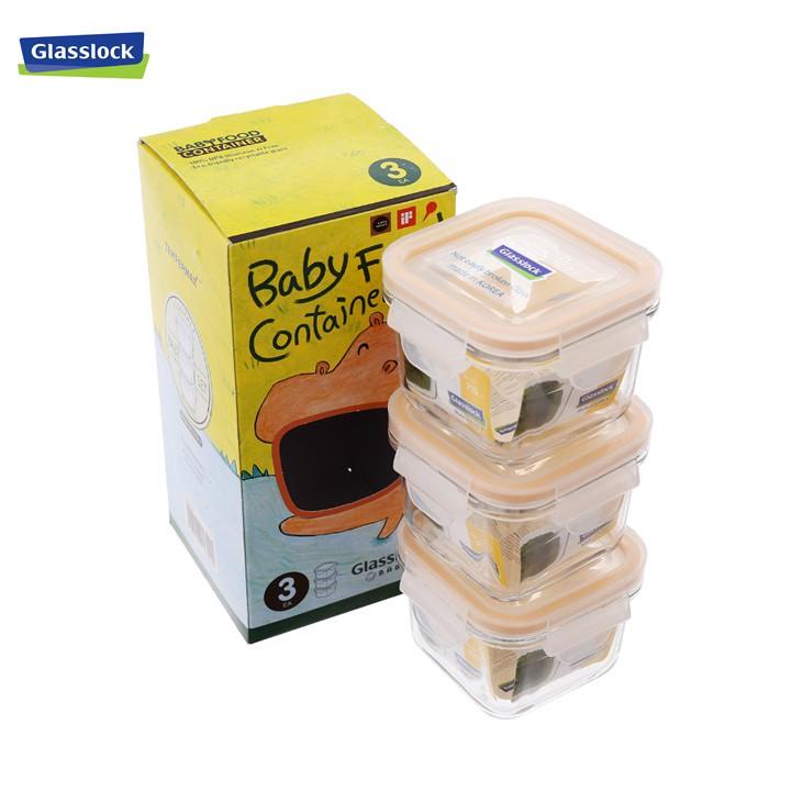 Bộ 3 hộp thuỷ tinh vuông Glasslock Baby 210ml (GL544)