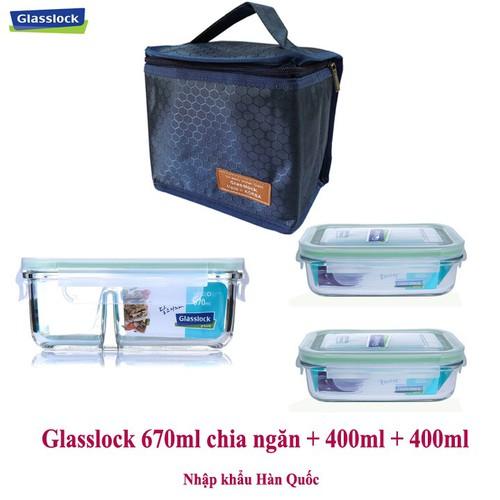 Set hộp cơm chia ngăn kèm túi giữ nhiệt Glasslock (670ml + 400ml)