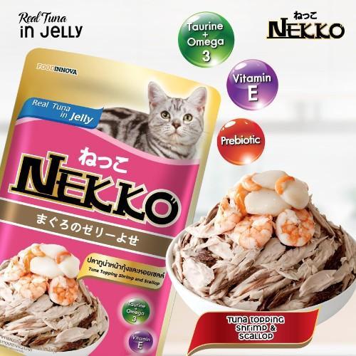 Pate Nekko Tuna topping Shrimp & Scallop in Jelly 70g (12 gói)