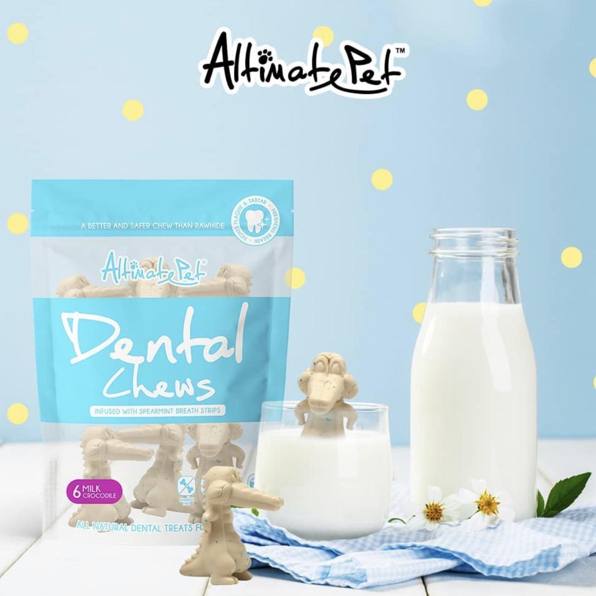 Xương Gặm Sạch Răng Altimate Pet Dental Chews Milk Sữa [Hình Cá Sấu 6 Xương]