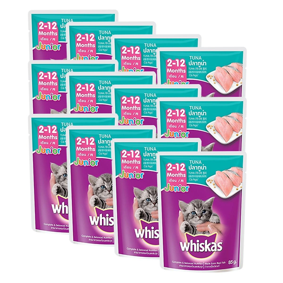 Pate Whiskas dạng sốt Cá ngừ cho Mèo con 85g (12 gói)