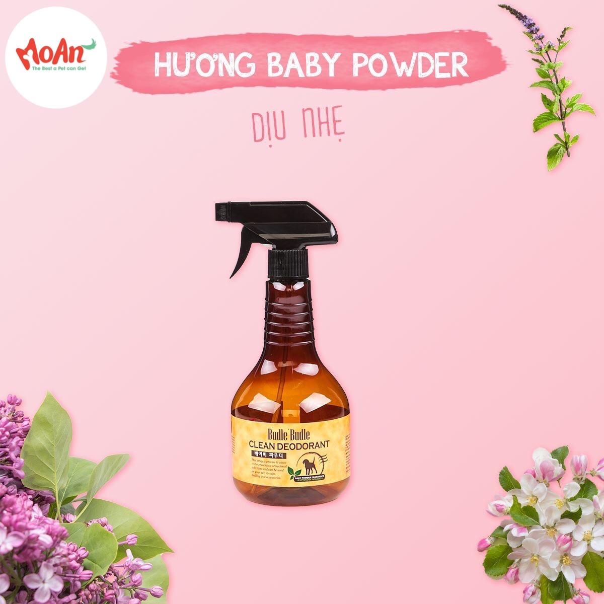 Xịt Budle'Budle Dưỡng lông [Mùi Phấn Em Bé Baby Powder] 530ml