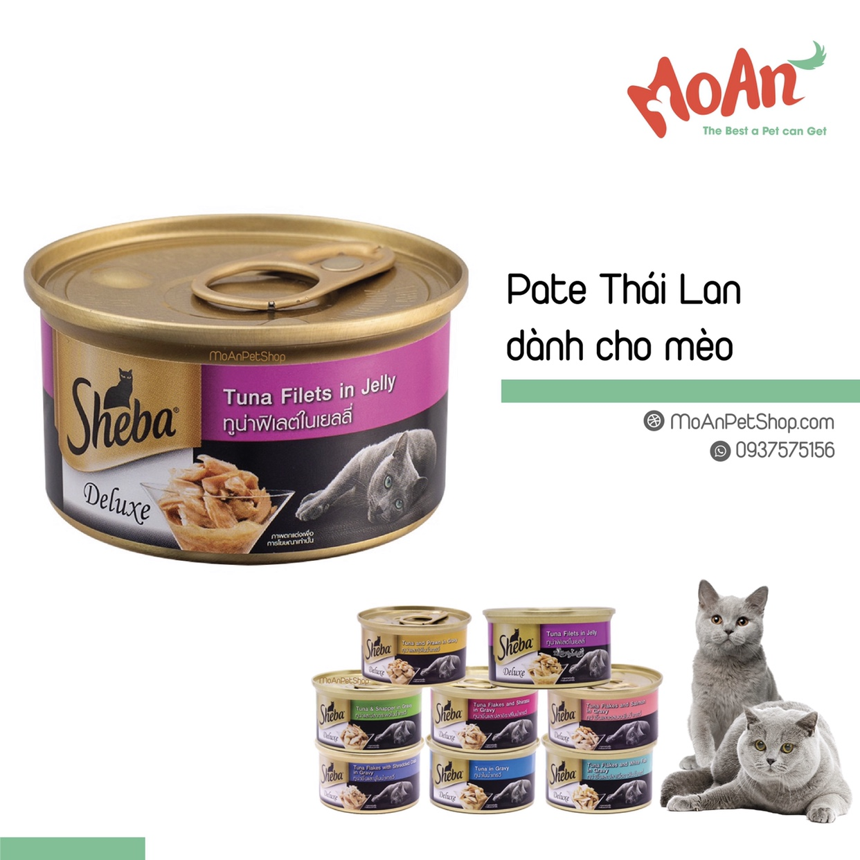 Pate Sheba Deluxe Thạch Filets Cá Ngừ Tuna in Jelly 85g