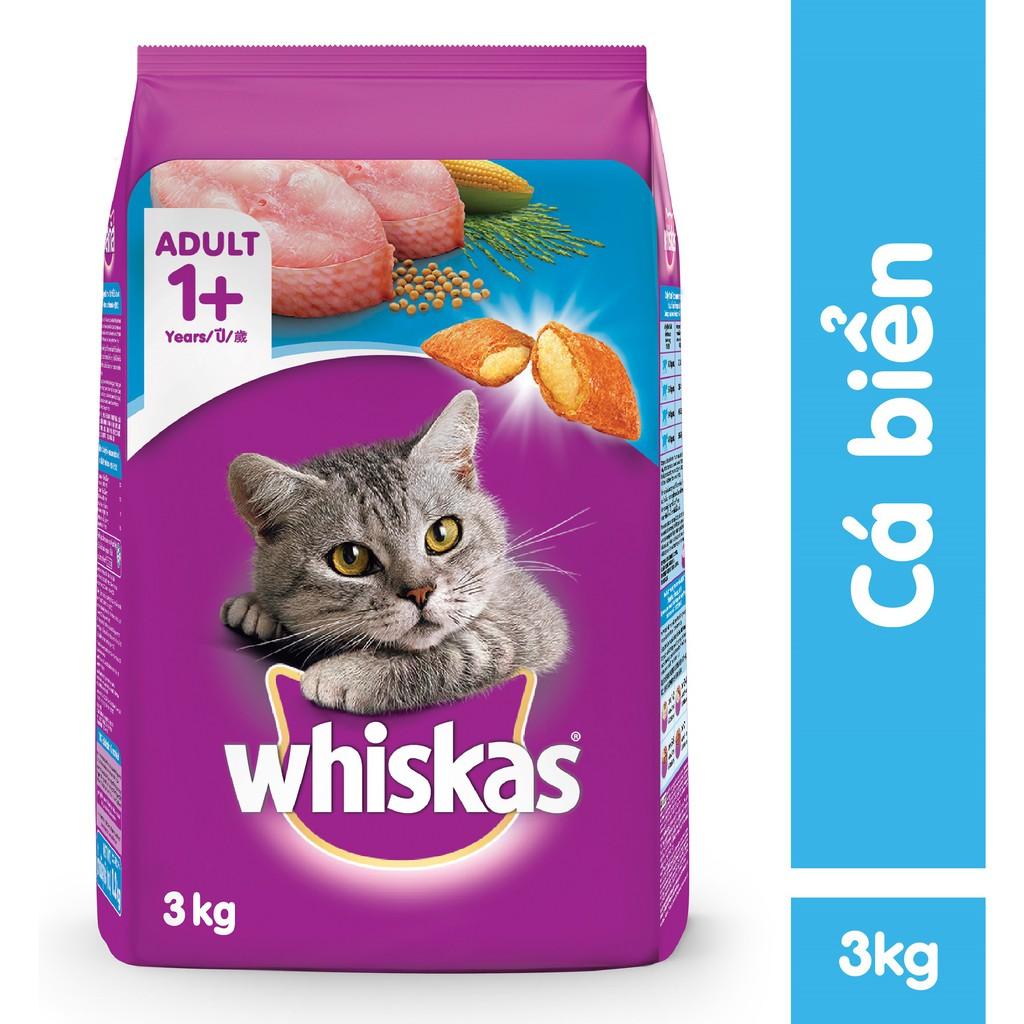 Hạt Mèo Whiskas Adult Cá Biển Ocean Fish 3kg