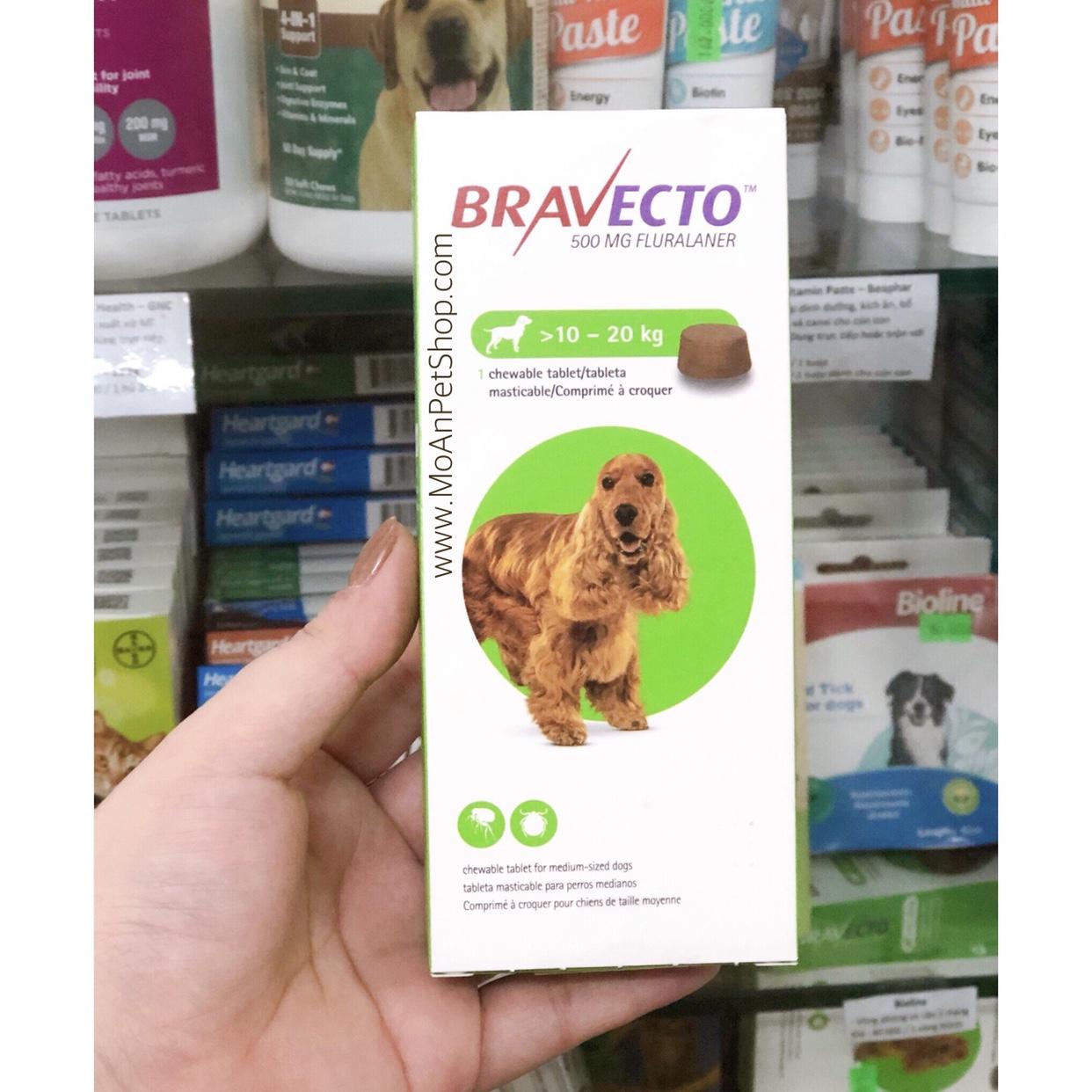 Viên Nhai Điều Trị Ve Rận & Viêm Da Ghẻ Demodex BRAVECTO Hà Lan (10kg-20kg)
