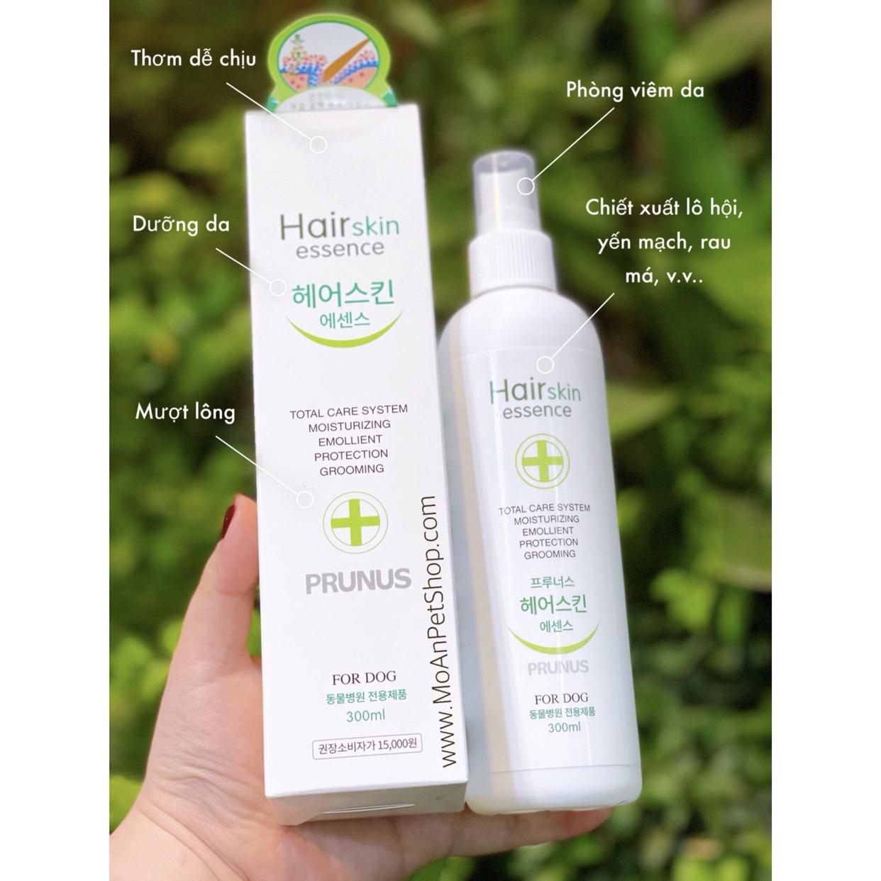 Xịt PRUNUS Hair Skin Essence Thơm Dưỡng Lông & Ngừa Viêm Da 300ml