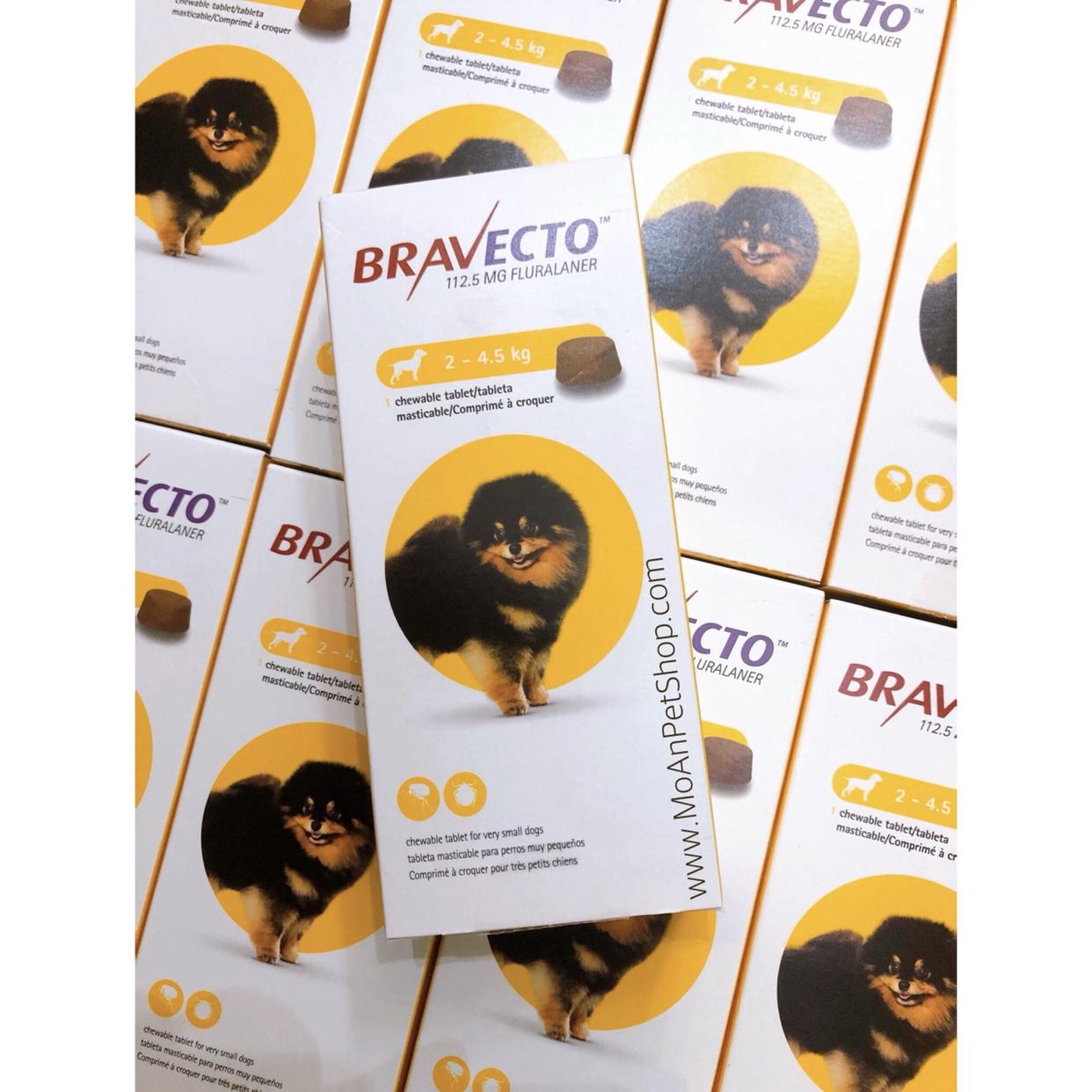 Viên Nhai Điều Trị Ve Rận & Viêm Da Ghẻ Demodex BRAVECTO Hà Lan (2kg-4.5kg)