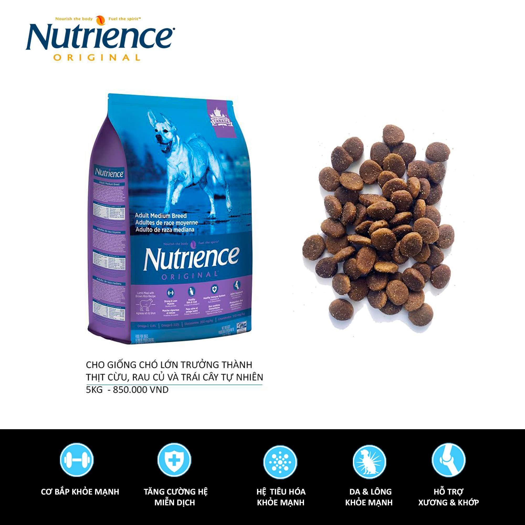 Nutrience ORIGINAL cho Cún size lớn (Trên 6 Tháng Tuổi) Thịt Cừu, Rau Củ Và Trái Cây Tự Nhiên 11.5kg
