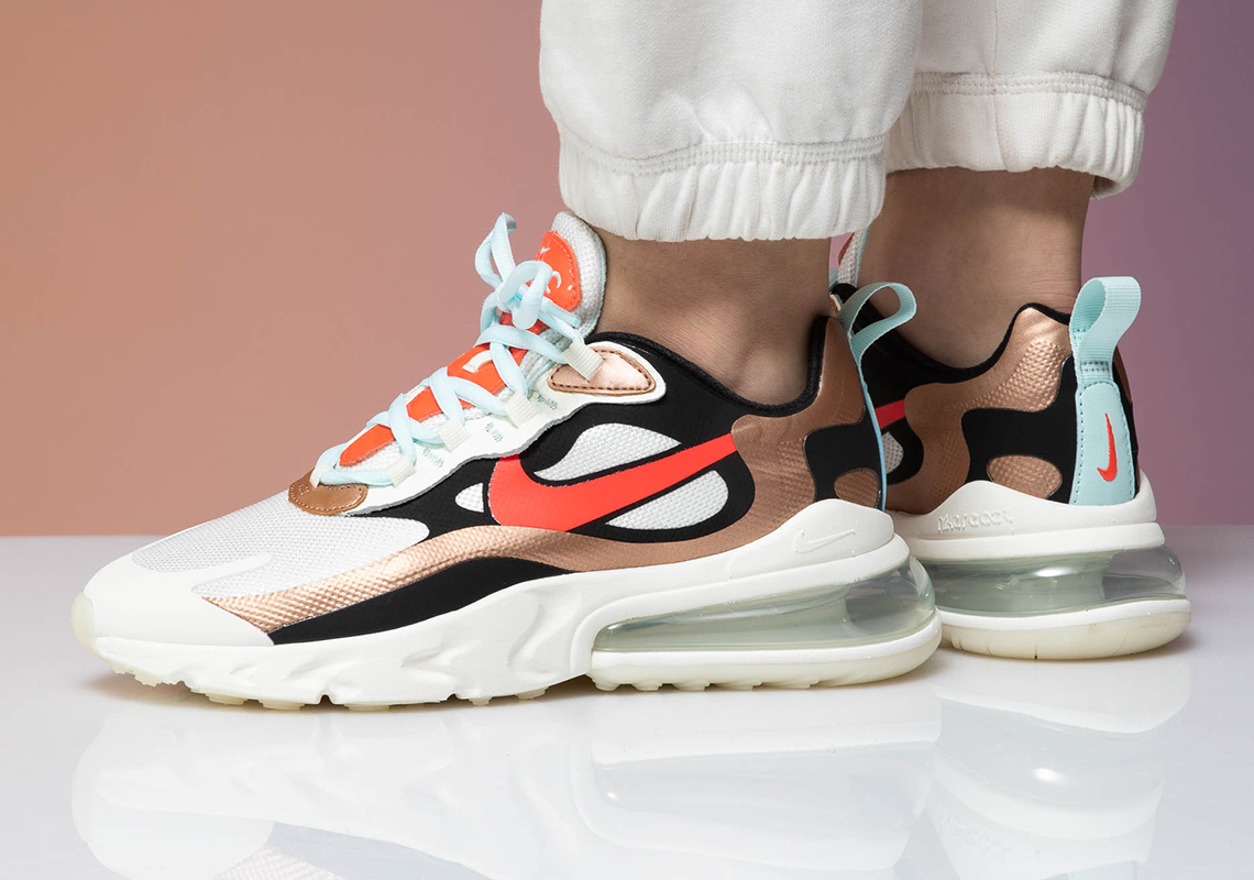 Nike Air Max 270 React For Women Adds Metallic Red Bronze Mudguards