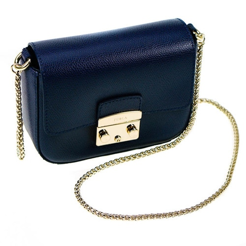 Furla Mini Metropolis Navy Blue Leather Crossbody Bag