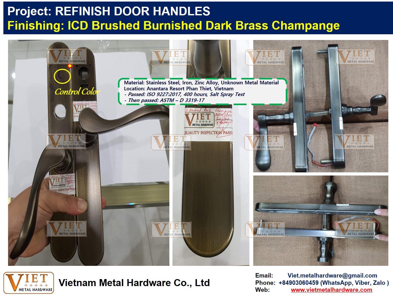 REFINISH DOOR HANDLES, ICD Brushed Burnished Dark Brass Champange