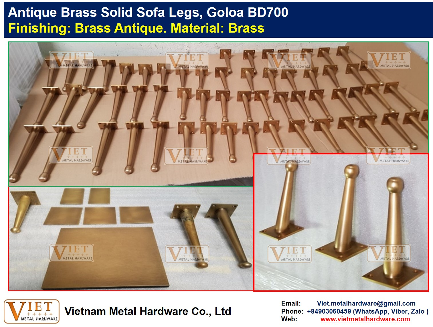 Antique Brass Solid Sofa Legs, Goloa BD700