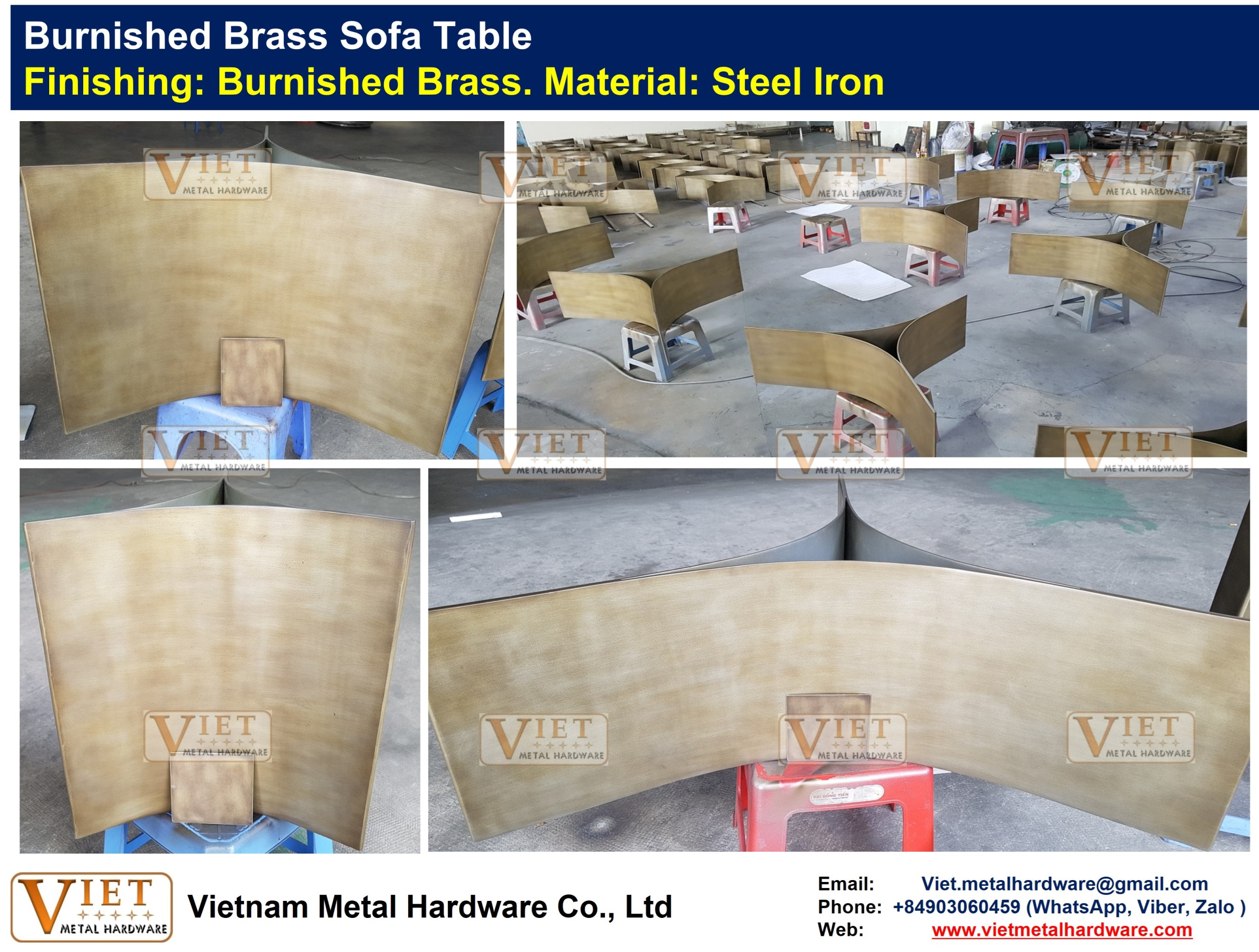BURNISHED BRASS METAL SOFA TABLE