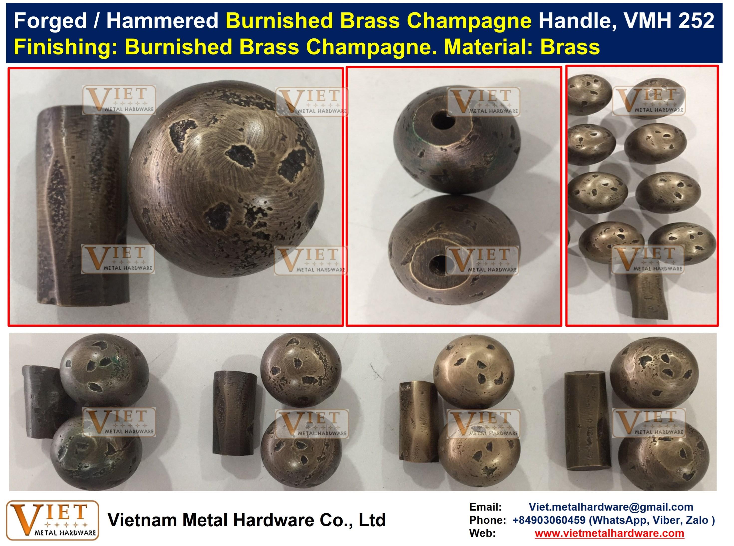 Forged / Hammered Cast Burnished Burnished Brass, Bronze, Dark Bronze, Champagne Ball Handle
