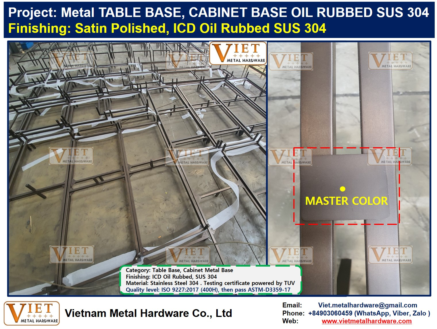 Metal TABLE BASE, CABINET BASE OIL RUBBED SUS 304