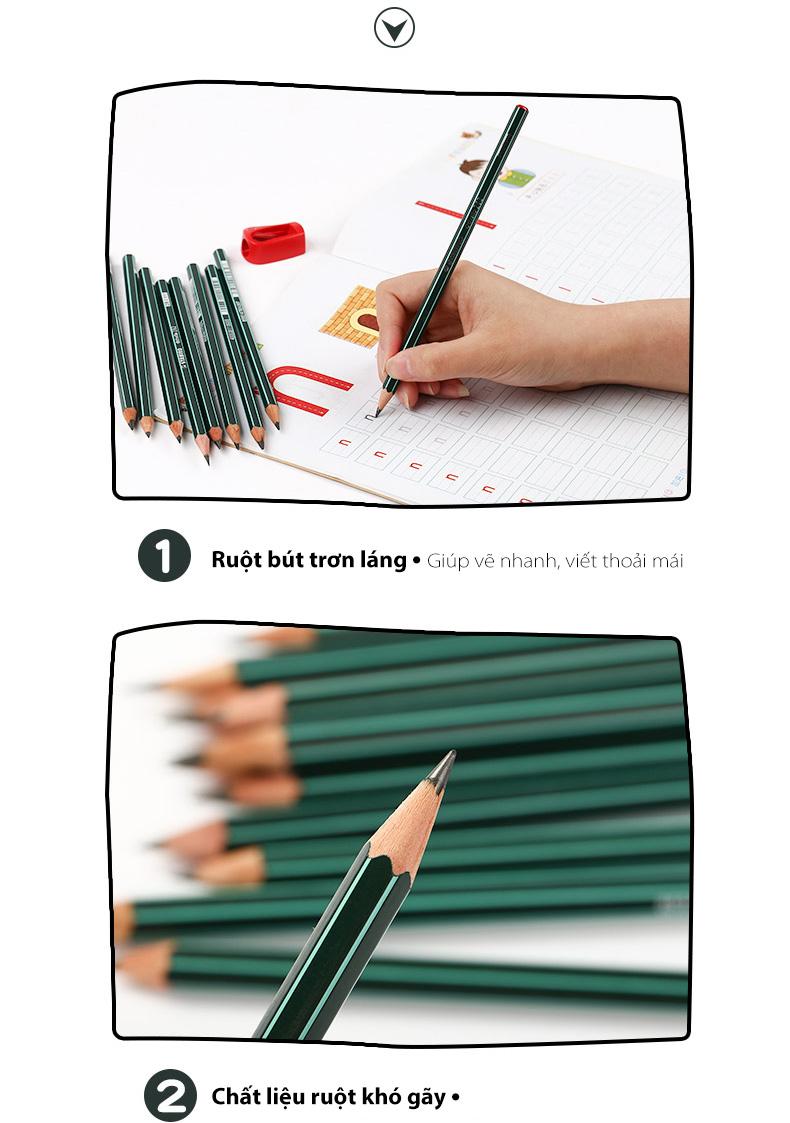 Bộ 2 cây bút chì gỗ STABILO Othello PC282-8B-C2 + Gôm ER166