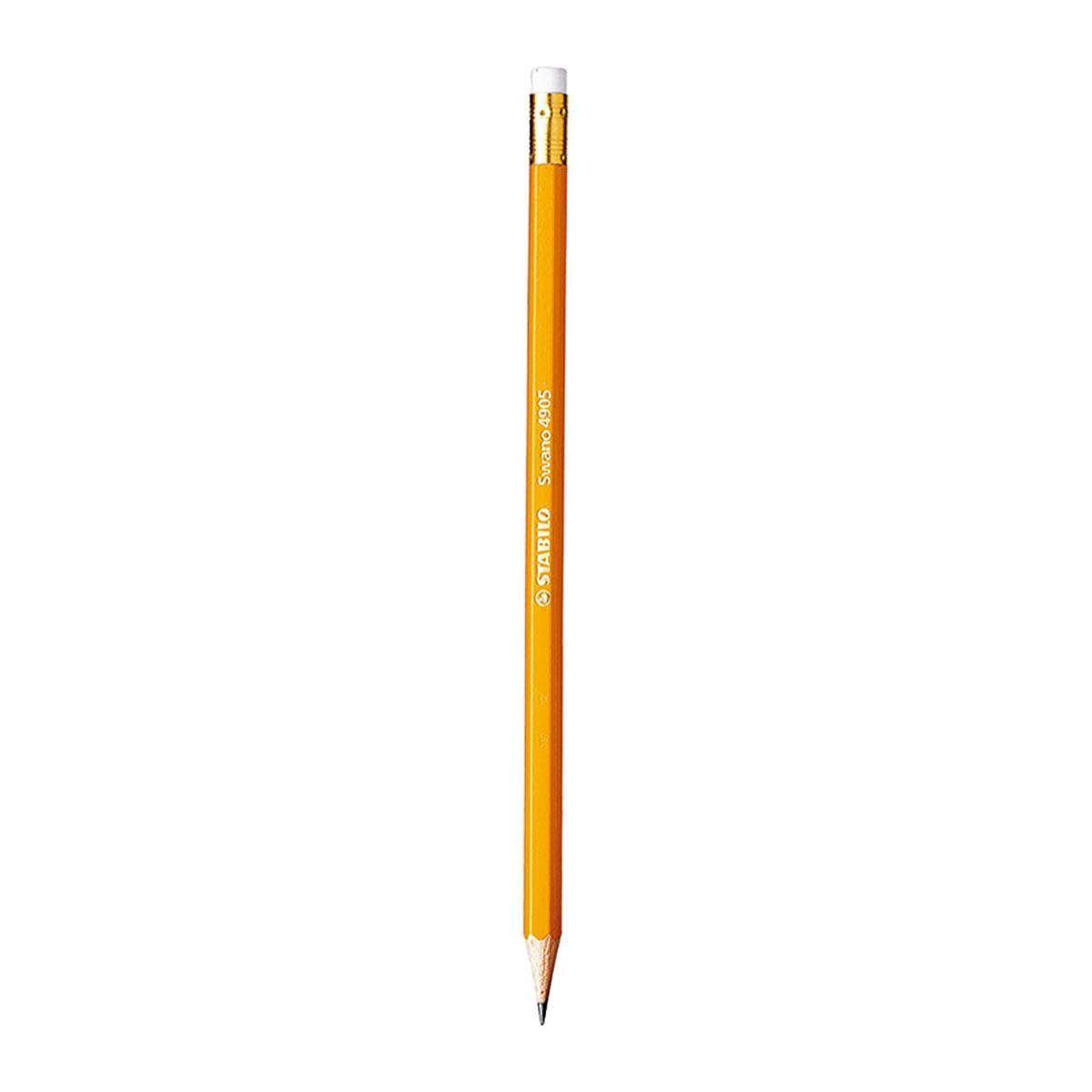 Bộ 3 cây bút chì gỗ STABILO Swano có đầu tẩy thân vàng + gôm tẩy ER193 (PC4905-C3+)