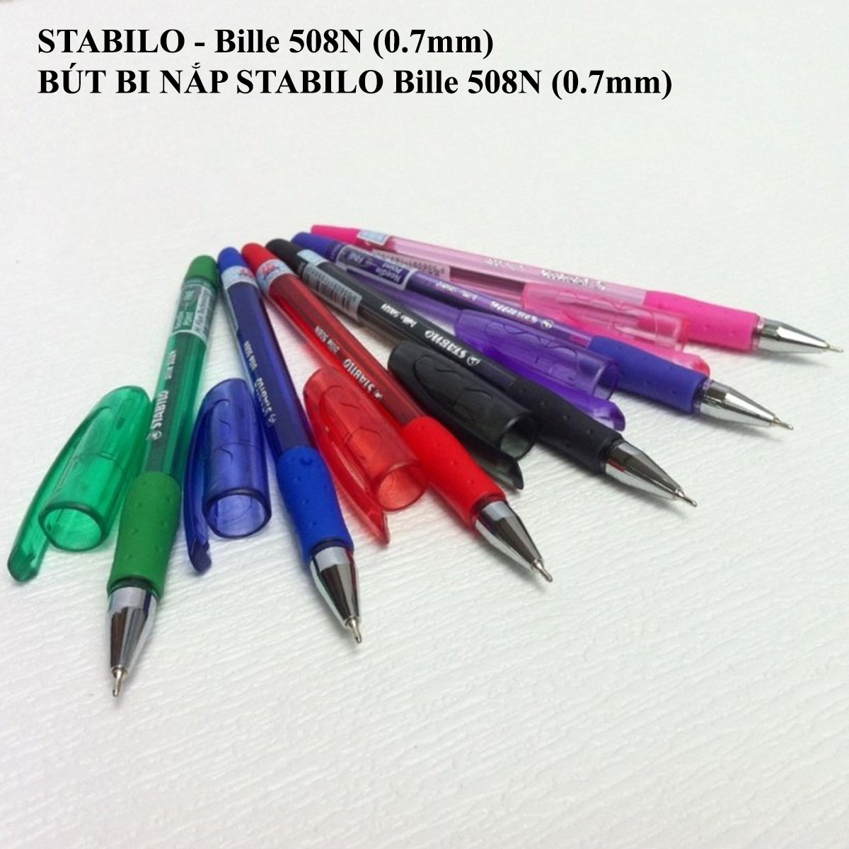 Bộ 4 bút bi STABILO Bille 508NF (2 xanh + 1 đen + 1 đỏ) + ruột xanh (BP508NF-C4R)