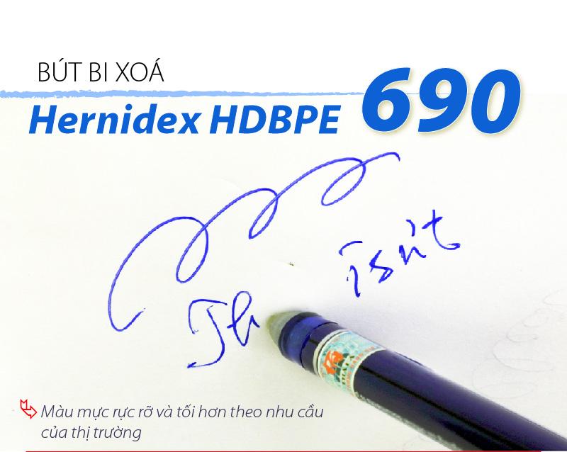 Bộ 3 bút bi có đầu xóa Hernidex (xanh, đen, đỏ) (HDBPE690-C3)