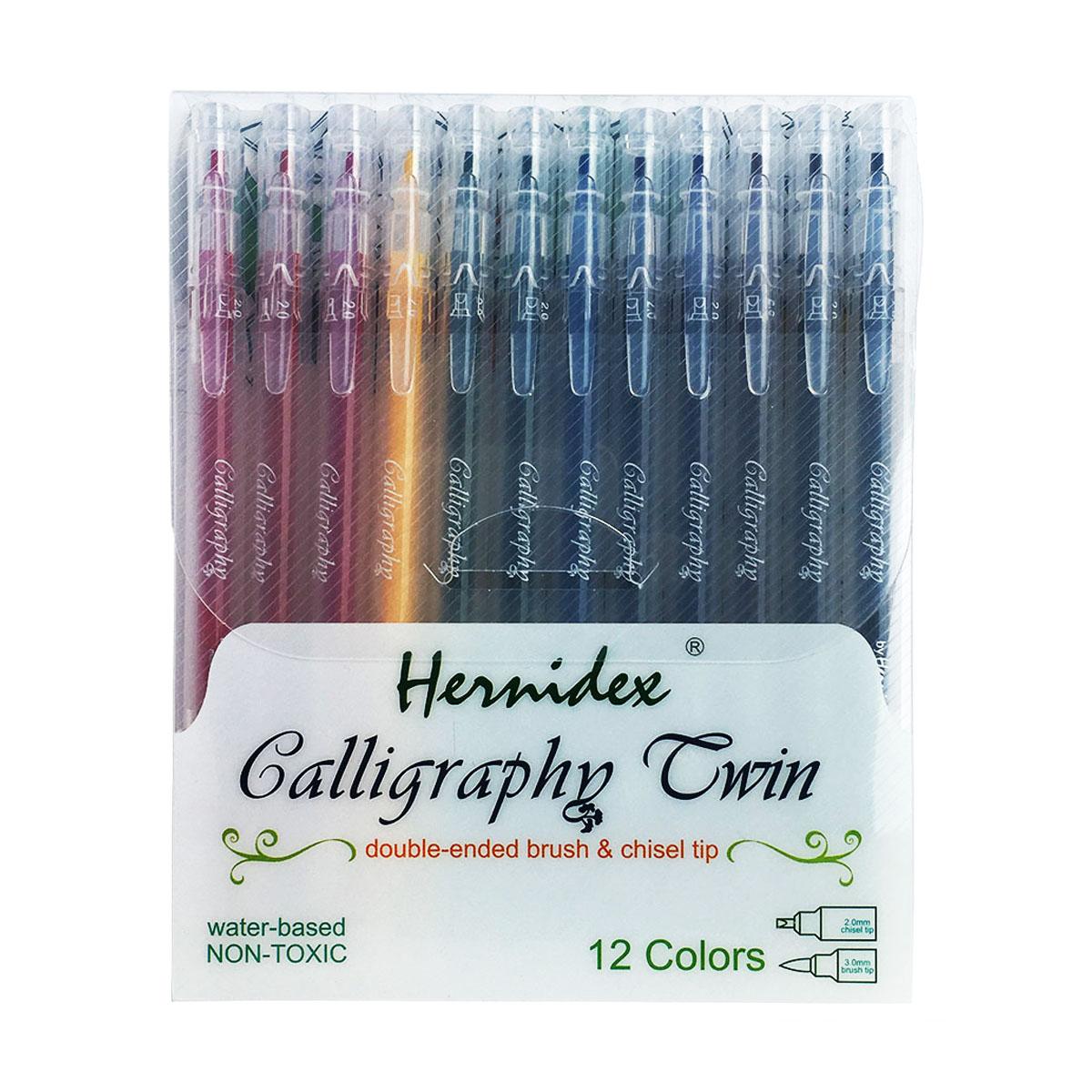 Bút thư pháp Hernidex Calligraphy Twin 2 đầu 0.2/3mm 12 màu/vỉ (HDCT12)