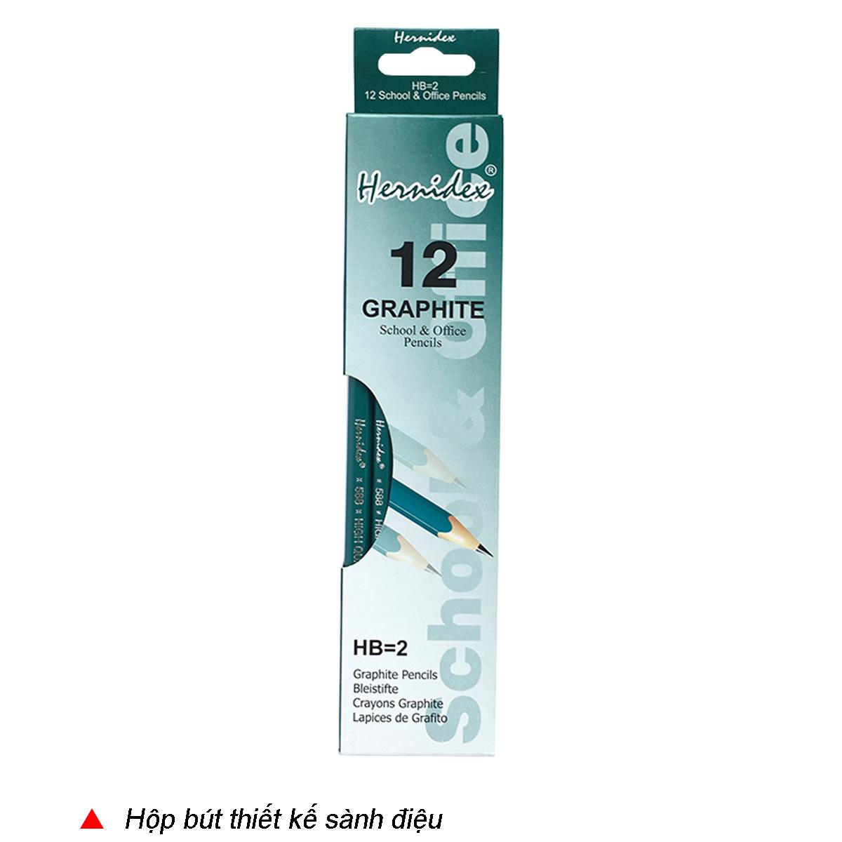 Hộp 12 cây Bút chì gỗ Hernidex 588 có đầu tẩy (HDPC588/12-HB)