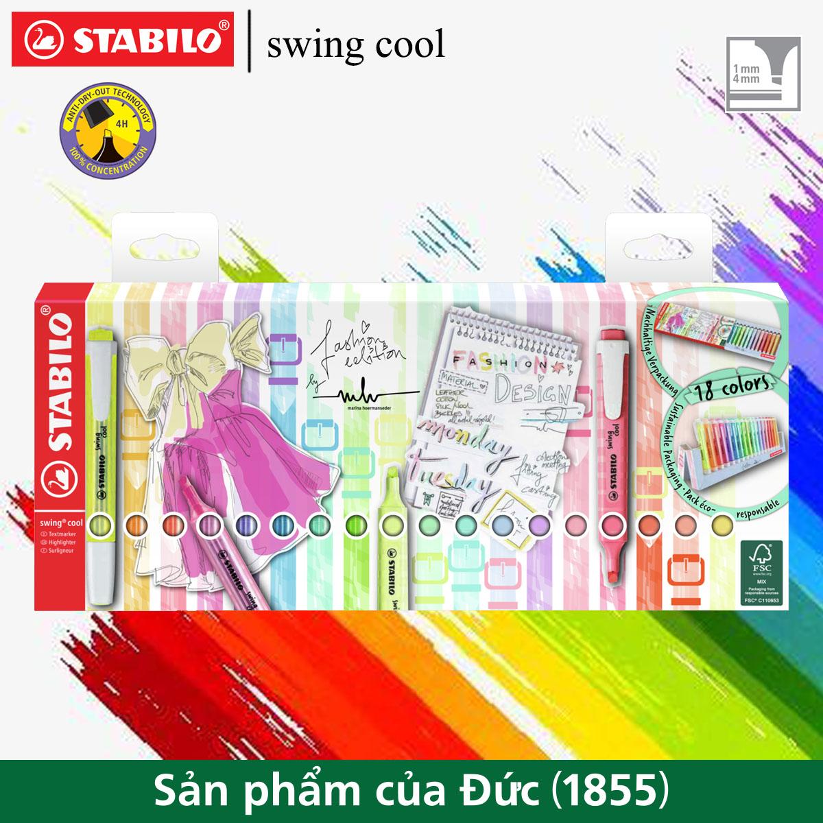 Hộp 18 bút dạ quang STABILO swing cool/ swing cool Pastel (HL27518P)