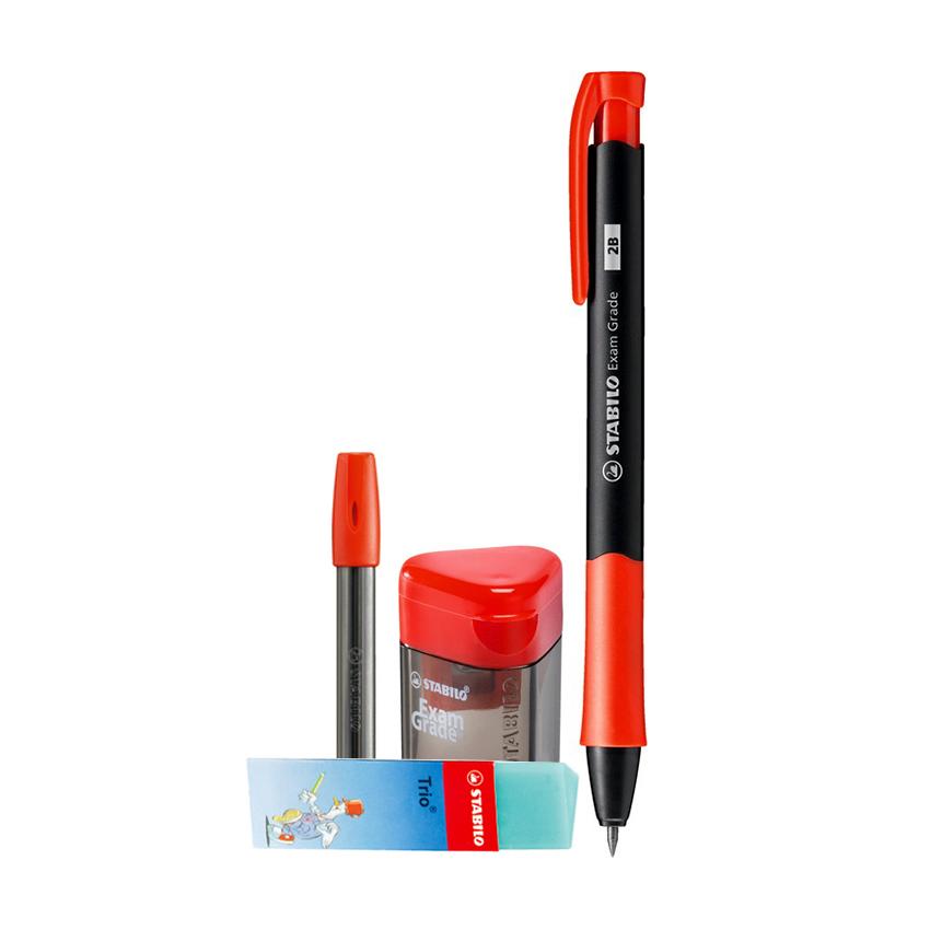 Bộ 1 cây bút chì bấm STABILO Exam Grade 9883 + ruột PC9803R6-2B + chuốt PS4588 + tẩy ER199 (MP9883-CB)
