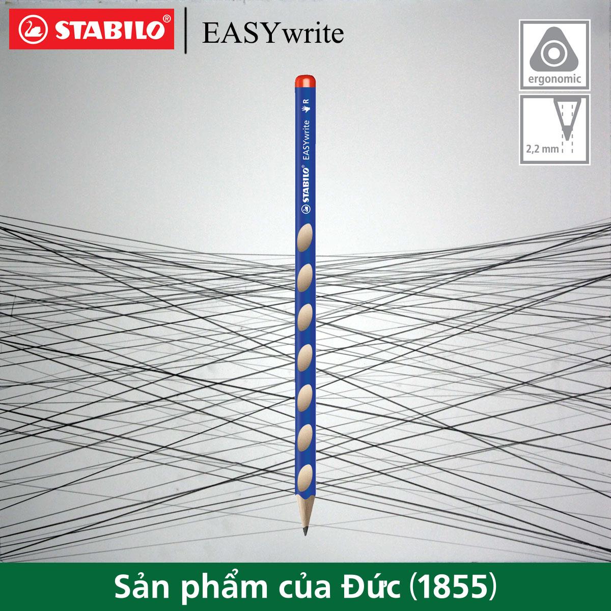 Bút chì gỗ hình thể học STABILO EASYgraph (tay phải) PCE324R-HB