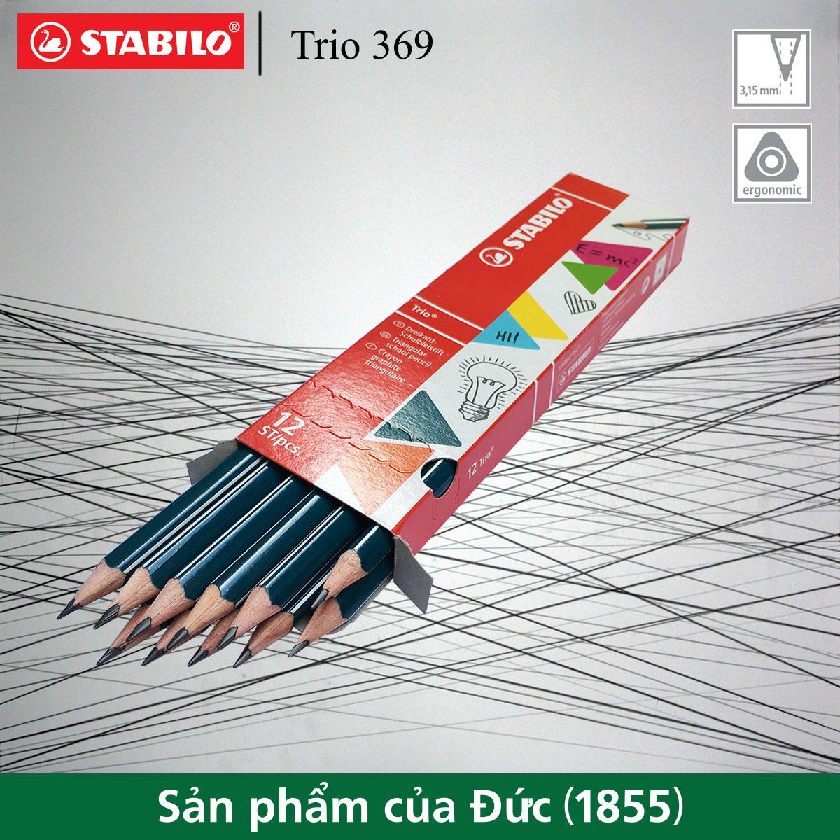 Hộp 12 cây bút chì gỗ STABILO Trio 369 2B thân tam giác (PC369/12-2B)