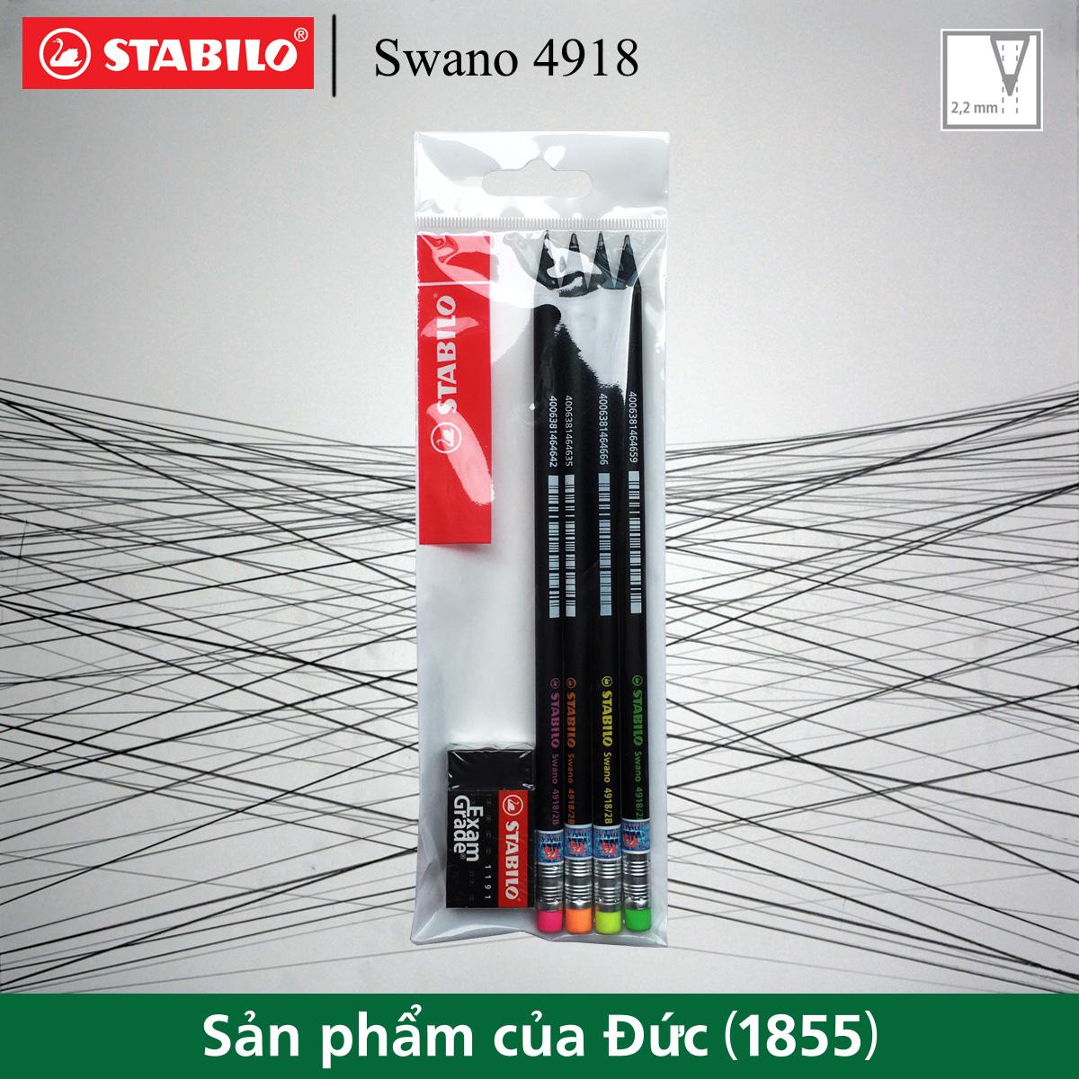Bộ 4 bút chì gỗ STABILO Swano 4918 2B thân đen, đầu tẩy x 4 màu + tẩy ER191E (PC4918-C4+)