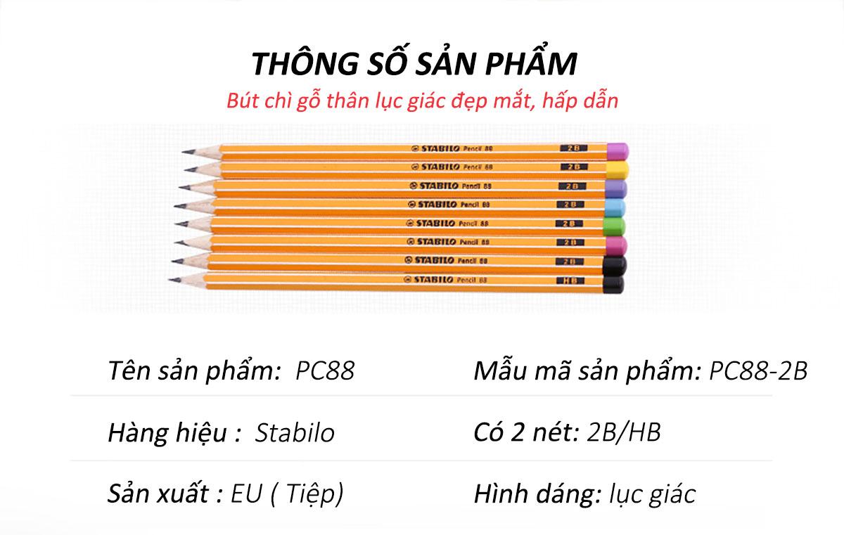 Bộ 24 cây bút chì gỗ STABILO Pencil 88 2B thân bút sọc trắng cam + tẩy ER166 (PC88/24-2BG)