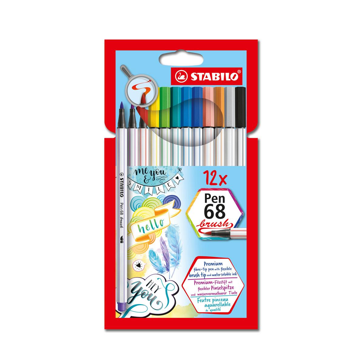 Bộ bút lông màu STABILO Pen 68 brush, 12 màu/vỉ (PN68BR-12P)
