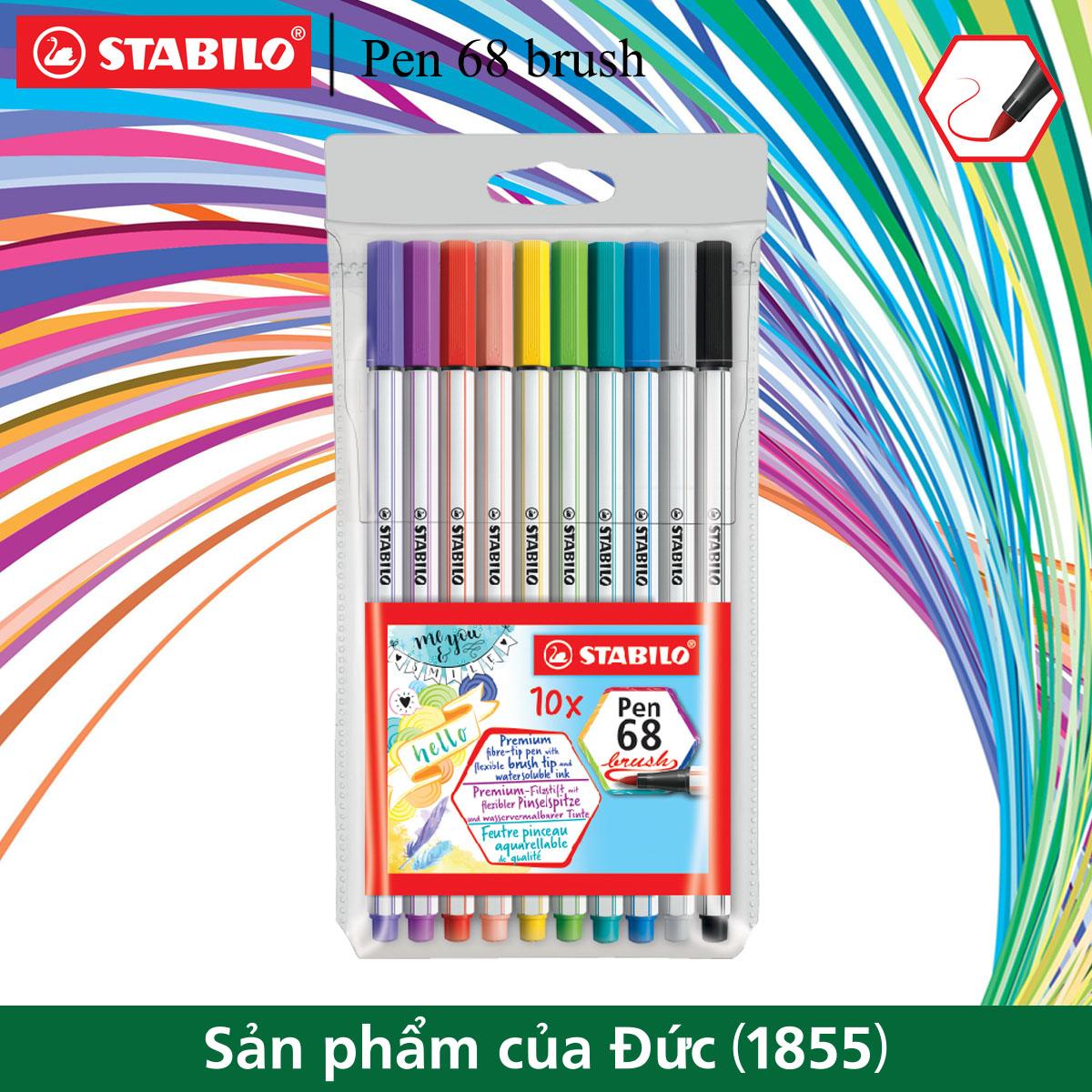 Bộ bút lông màu STABILO Pen 68 brush 10 màu (PN68BR-C10)