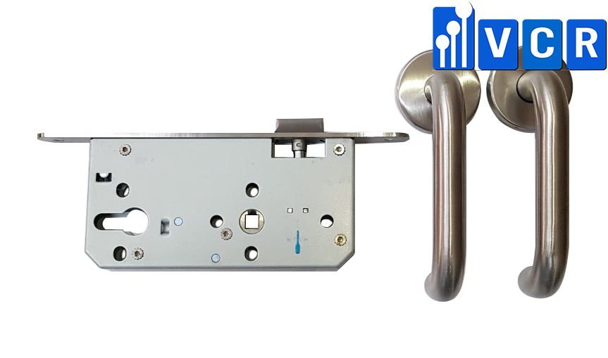 Clean Room Door Lock No Key S3-12K - Stainless steel cleanroom door handle - Mortise lock with lever handle