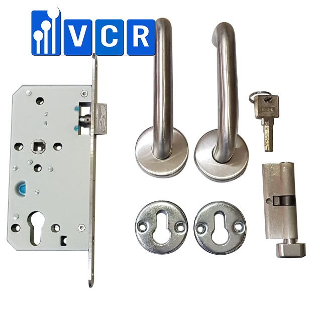 Clean Room Panel Door Lock With Keys S3-12C - Stainless steel cleanroom door handle - Mortise lock with lever handle
