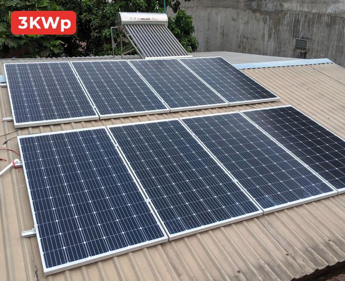 Chi phí lắp đặt điện mặt trời hệ 3KW cho hộ gia đình