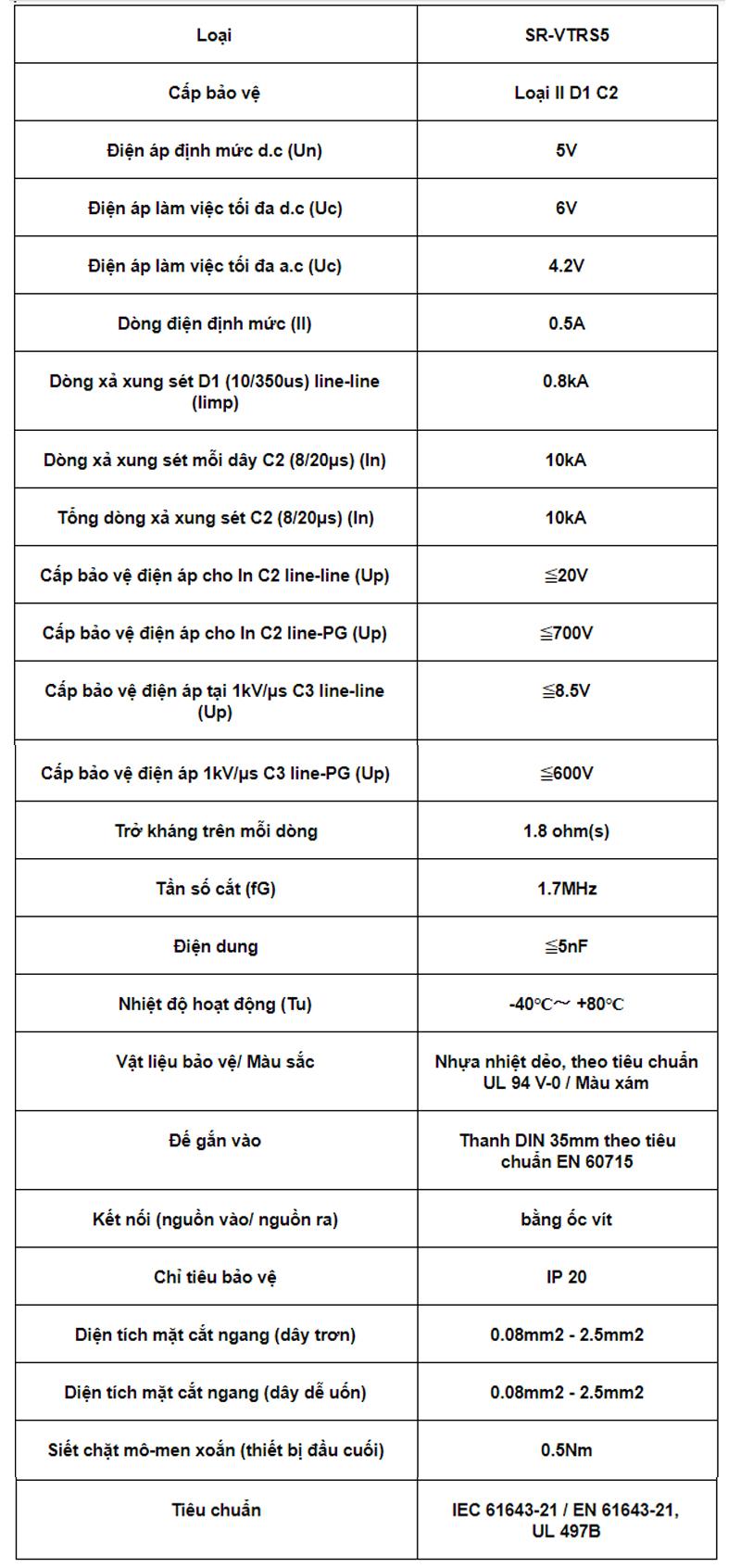 Thông số kỹ thuật của thiết bị chống sét cho đường tín hiệuOTOWA SR-VTRS5: