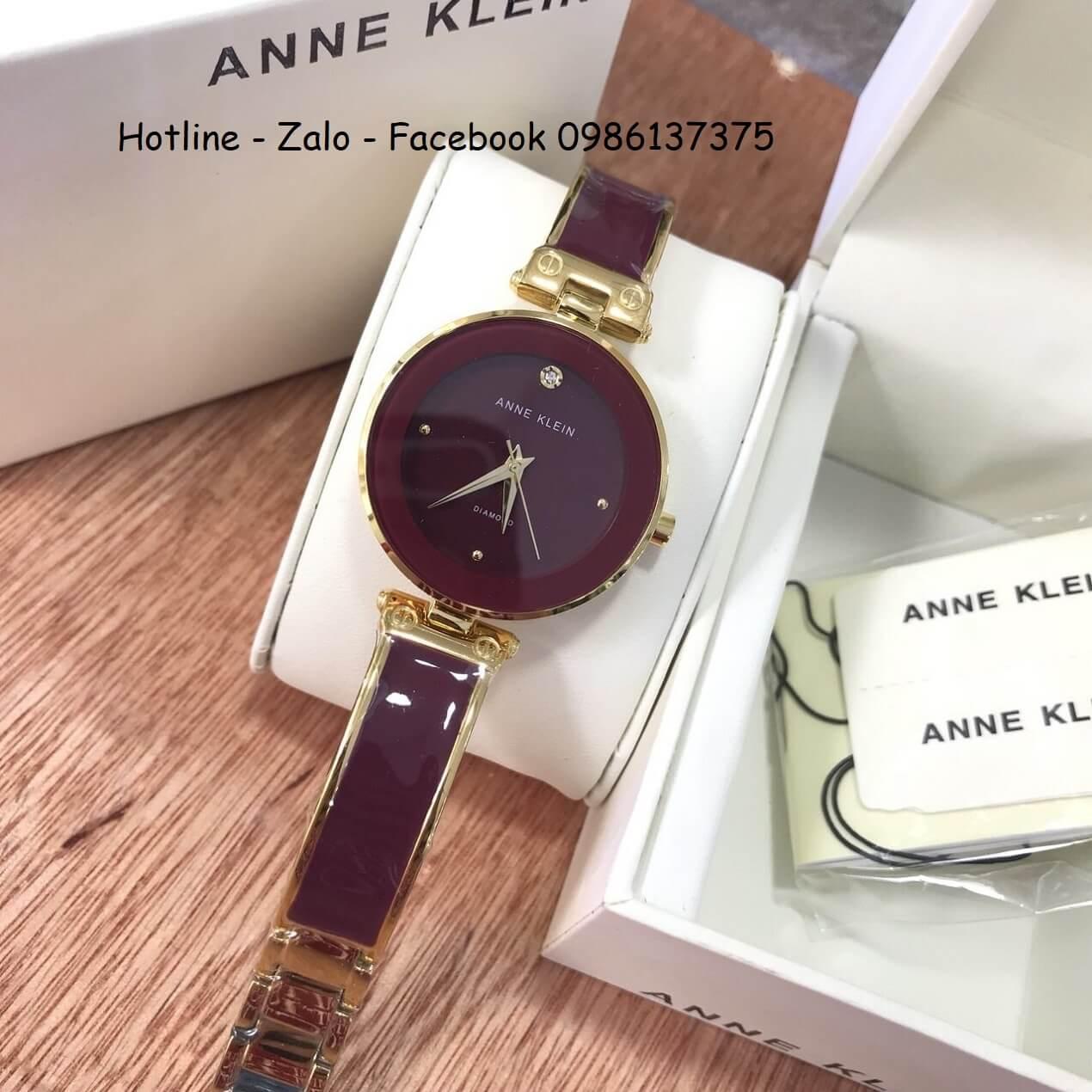 Đồng Hồ Anne Klein Nữ Màu Đỏ Mận 28mm (Gold)