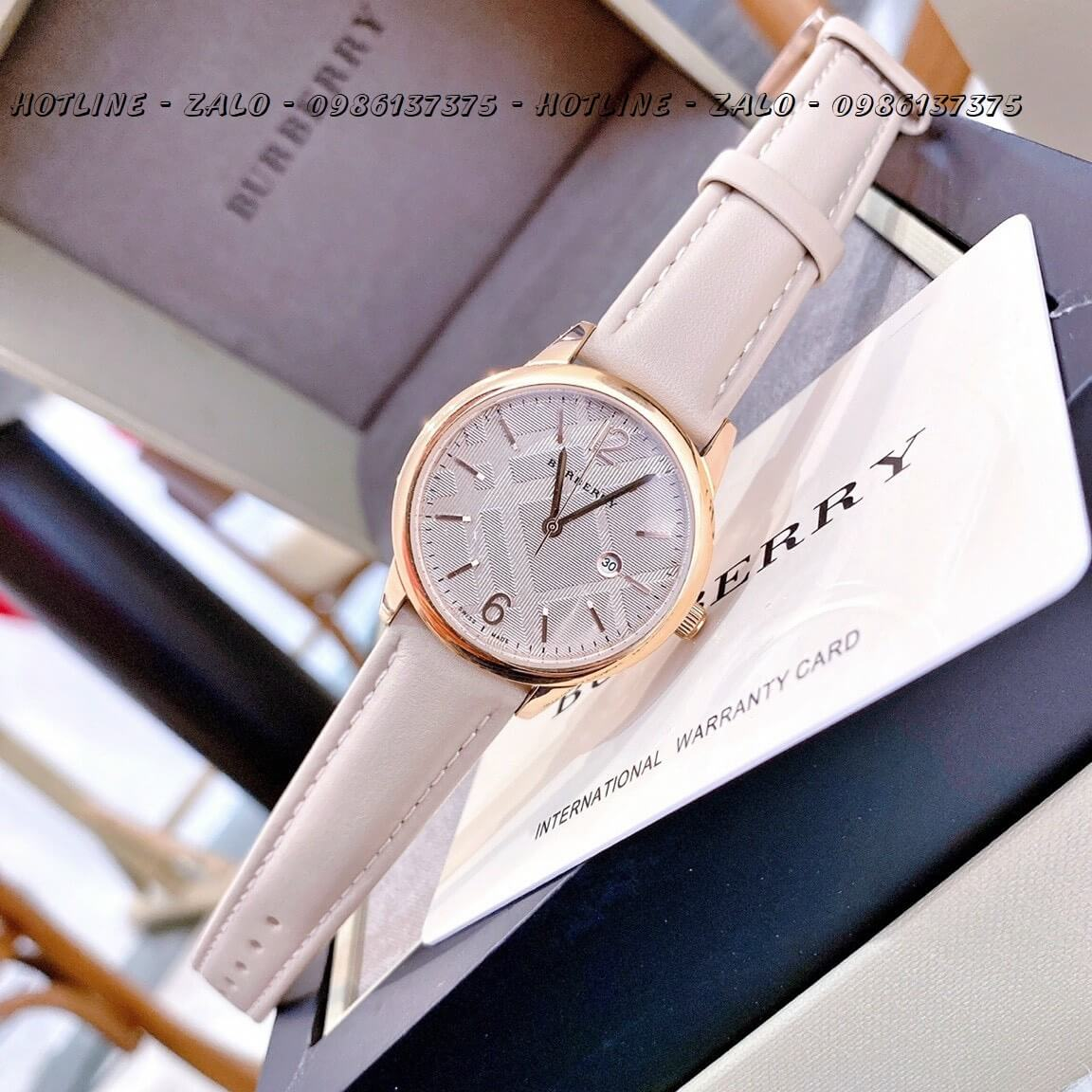 Đồng Hồ Burberry Nữ Dây Da Nude Rose Gold 32mm