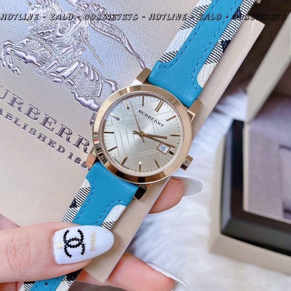 Đồng Hồ Burberry Nữ Dây Da Xanh Bọc Caro Gold 34mm