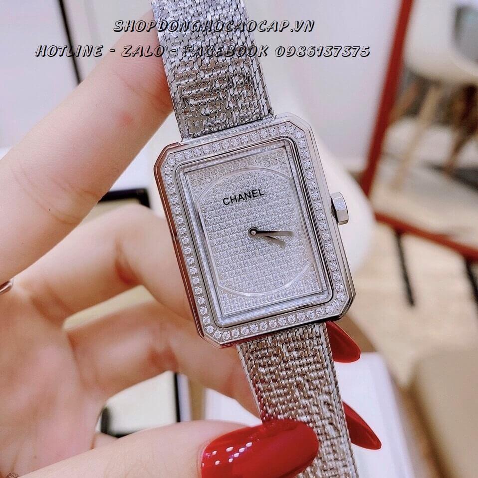 Đồng Hồ Chanel Boy Diamond Nữ Đính Đá Bạc 22x34mm