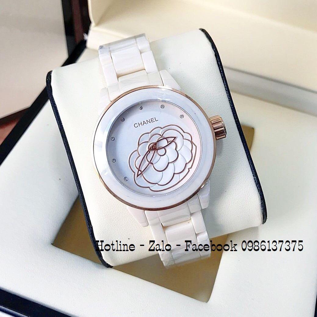 Đồng Hồ Nữ Chanel Đá Ceramic Kem 38mm Mặt Hoa 3D